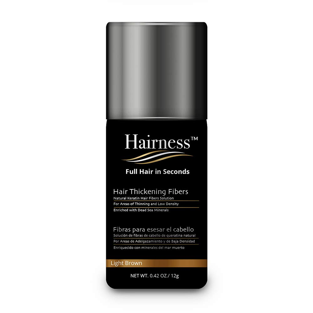 Hairness - Hair Fibers for Thinning Hair - Made of Natural Keratin and Enriched with Dead Sea Minerals - Completely Conceals Hair Loss & Add Volumein 15 Seconds, 12g / 0.42oz - Light Brown by Hairness Fibers