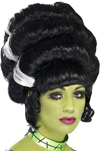 Smiffys Women's Black Beehive Wig with White Streaks, Pin Up Frankie Wig, One Size,24957 -