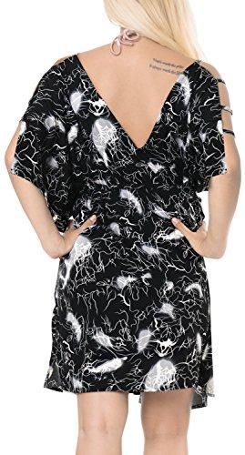 LA LEELA Soft fabric Printed Swimsuit Cover Up OSFM 16-20 [XL-2X] Black_6609 by LA LEELA (Image #2)