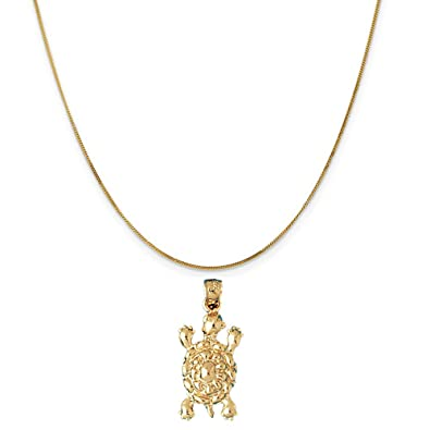 Amazon 14k yellow gold turtle pendant on a 14k yellow gold curb 14k yellow gold turtle pendant on a 14k yellow gold curb chain necklace 16quot aloadofball Choice Image