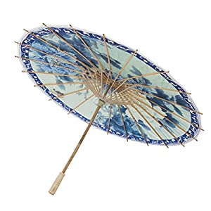 THY COLLECTIBLES Rainproof Handmade Chinese Oiled Paper Umbrella Parasol 33″ Blue & White Flowers