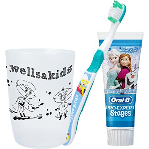 wellsamed wellsakids Zahnpflegeset Eiskönigin 3-teilig für Kinder Set weiß