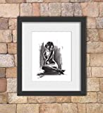 Charcoal Figure Drawing Art Print of Erotic Nude
