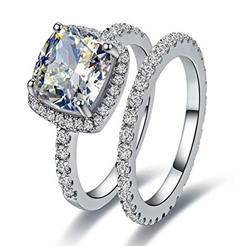 Silver 3CT Cushion Engagement