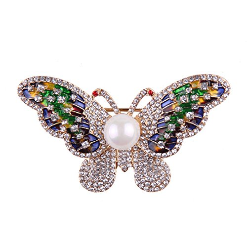 Teniu Animal Butterfly Brooch Rhinestone Crystal Brooch Diamond Brooch Pins Silver/Gold Plated (Butterfly Turquoise Pin)