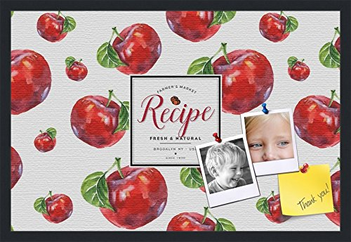PinPix decorative pin cork bulletin board made from canvas, Recipe Board with Red Apples 30x20 Inches (Completed Size) and framed in Satin Black (PinPix-Group-36) by PinPix