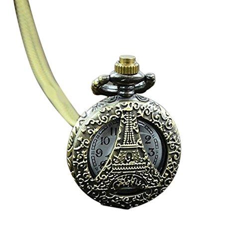 GlobalDealRetro Vintage Steampunk Quartz Necklace Carving Pendant Chain Clock Pocket Watch (C)