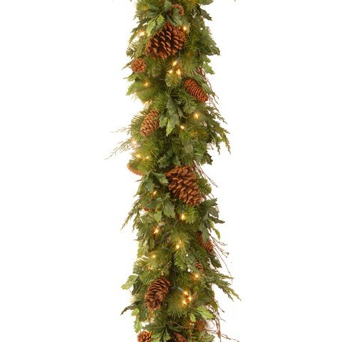 National Tree 6 Foot by 12 Inch Juniper Pine Garland with 100 Warm White LED Lights (DC13-113L-6B-1S)