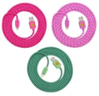 6ft(2m) High Quality Braided Nylon Lightning Charging Cables for Apple iPhone iPhone 6 6 Plus 5 5C 5S iPad Air iPad 4 iPad Mini iPod Touch 5 Nano 7 - 8 pin to USB - 3pack (Hotpink.pink.teal)