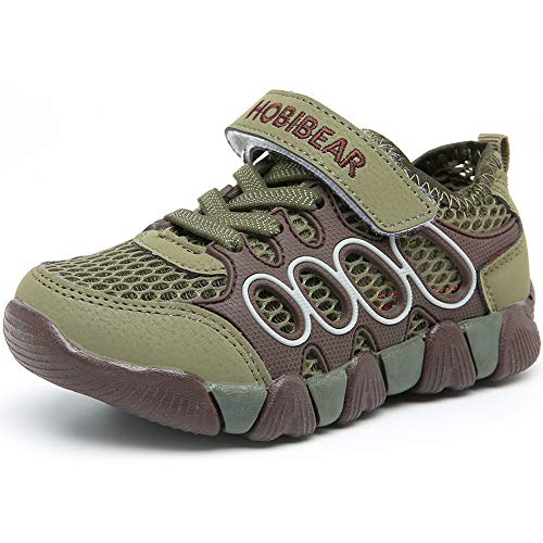 HOBIBEAR Boys Outdoor Strap Athletic Sneakers Running Tennis Shoes Army Green -