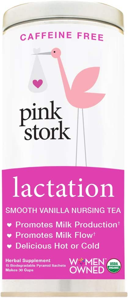 Pink Stork Lactation: Unsweetened Smooth Vanilla Nursing Support Tea -Organic Loose Leaf Tea in Biodegradable Sachets -Natural Breastfeeding Support -Enhance Breast Milk Supply, 30 Cups