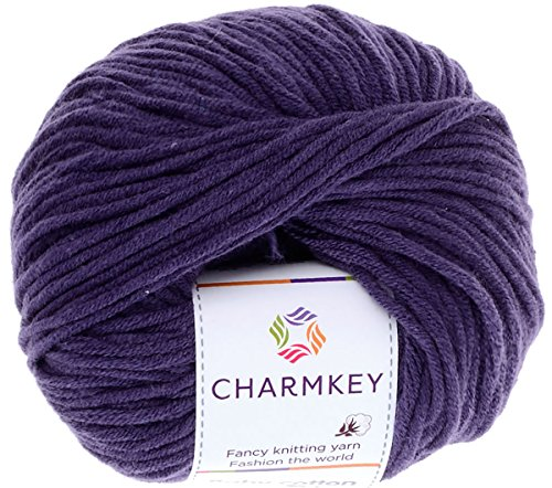 Charmkey Baby Cotton Yarn Simply Soft Boutique 4 Ply Medium Acrylic Blended Worsted Dungarees Knitting Yarn for Spring Summer Wear, 1 Skein, 1.58 Ounce (Crown Jewel)