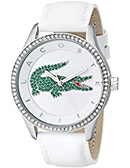 Lacoste Womens 2000893 Victoria Stainless Steel Watch With White Leather Band