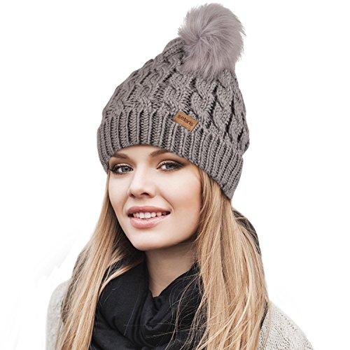 Stretch Beanie (Womens Pom Pom Beanie Winter Hat Stretch Soft Knit Skull Ski Cap, Best gifts for Birthday, Holiday Gray)