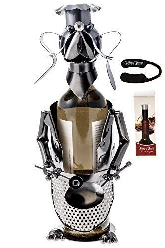 Fabulous Dog (Holding a Frying Pan and a Spoon) Wine Bottle Holder Plus a Wine Foil Cutter and a Wine Bottle Vacuum Stopper