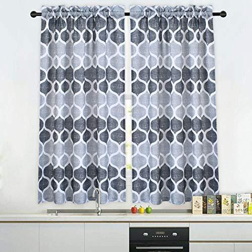 Haperlare Grey Moroccan Tier Curtains for Living Room, Lattice Pattern Short Bathroom Window Curtain, Trellis Design Half Window Kitchen Cafe Curtains, 28