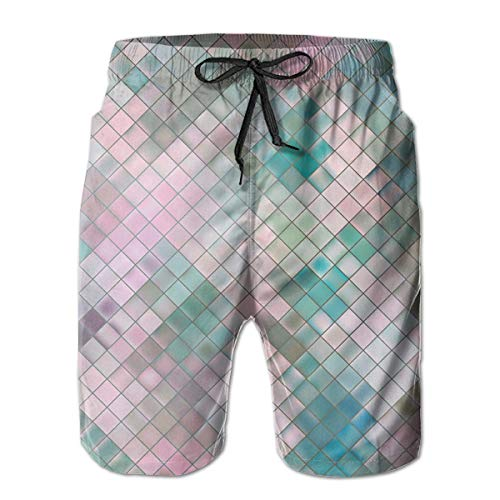 ZORITO Men's Swim Trunks Quick Dry Summer Holiday Beach Shorts with Mesh Lining Pink Blue Mosaic - Mosaic Dry Goods Eagle