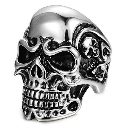 FIBO STEEL Stainless Steel Rings for Men Women Black Skull Head Rings,Size 14 Silver-tone (Mens Skull Rings)