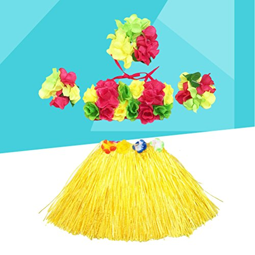 5Pcs Hawaii Tropical Hula Grass Dance Skirt Flower Bracelets Headband Bra Set 40cm (Yellow Skirt) by LUOEM (Image #1)
