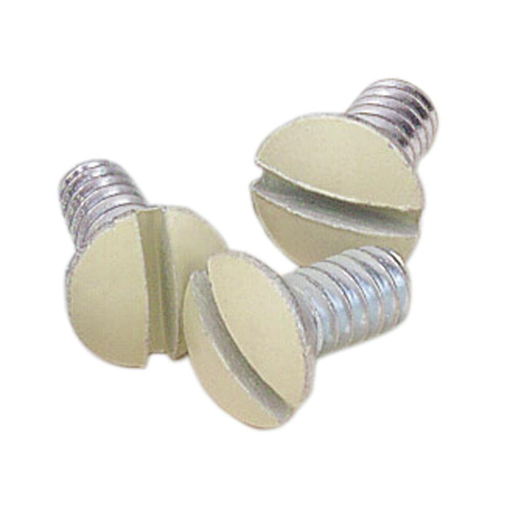 Leviton 86400-PRT 5/16-Inch Long 6-32 Thread, Oval Head Milled Slot Replacement Wallplate Screws, 10-Pack (Ivory)