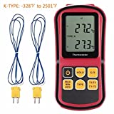 Digital Thermometer, Liumy 110V LCD Dual-channel Temperature Controllers, Temperature Meter Tester for K/J/T/E/R/S/N Thermocouple, Celsius and Fahrenheit Accurate to ±0.1%+0.6℃