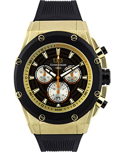 (Ulysse Girard Swiss Chronograph Arbour Mens Watch - Black Sillicone Strap, Gold Case, Black/Gold Dial)