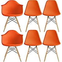2xhome – Set of Six (6) - Orange - Hardwood Solid Wood Brown Wood - Dinning Arm Chair - Dinning Side Chair Eames Style Eames Arm Chair Ray Chair Molded Plastic Shell