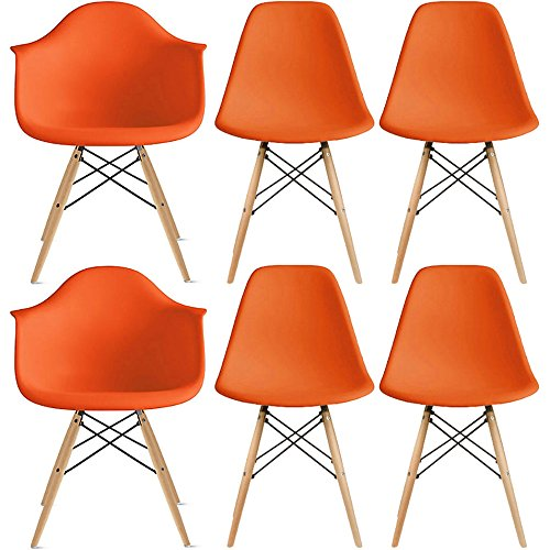 2xhome – Set of Six (6) - Orange - Hardwood Solid Wood Brown Wood - Dinning Arm Chair - Dinning Side Chair Eames Style Eames Arm Chair Ray Chair Molded Plastic (6 Arm Chair Set)