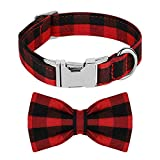 Mtliepte Plaid Dog Cat Collar Bowtie Heavy Metal Buckles Soft Comfy Adjustable Collar 4 Sizes