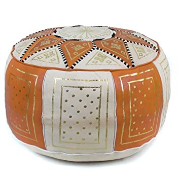 Mina Stuffed Moroccan Golden Fez Leather Pouf Ottoman, Many Colors Available, 16 Diameter and 12 Height Orange