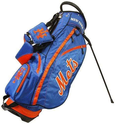 (Team Golf MLB New York Mets Fairway Golf Stand Bag, Lightweight, 14-way Top, Spring Action Stand, Insulated Cooler Pocket, Padded Strap, Umbrella Holder & Removable Rain Hood)
