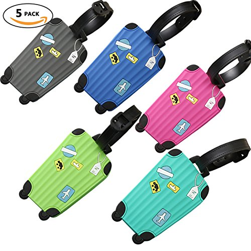 Bulk Luggage Tags, Identifiers Labels For Travel Suitcases, Silicone Cruise Baggage Tag Set 5 Pack