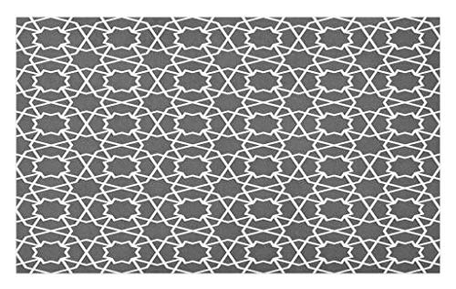 Lunarable Arabian Doormat, Geometric Pattern in Arabian Style Asian Architecture Classic City Buildings, Decorative Polyester Floor Mat Non-Skid Backing, 30 W X 18 L inches, Charcoal Grey by Lunarable