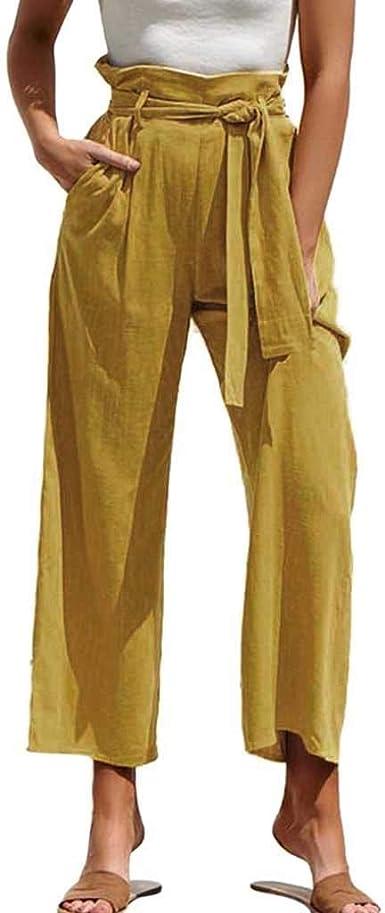 Wyxhkj Pantalones De Pierna Ancha Sueltos Color Solido Cintura Alta Pantalones Largos De Yoga Elasticos Delgado Casuales Verano Para Mujer Amazon Es Ropa Y Accesorios