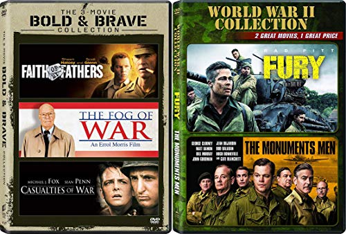 Modern Warfare Collection - Fury, The Monuments Men, Casualties of War (Extended Edition), The Fog of War & Faith of My Fathers 5-Movie Bundle