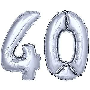 DekoRex® número Globo decoración cumpleaños Brillante para Aire en argentado 40cm de Alto No. 40