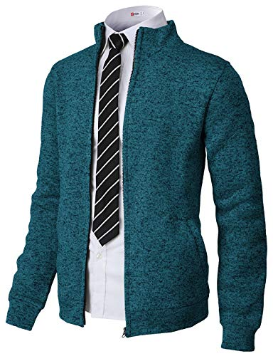 H2H Mens Casual Knitted Zip-Up Hoodie Jacket Napping Long Sleeve Bluegreen US L/Asia XL (CMOCAL032) (Designer Jackets Mens Leather)