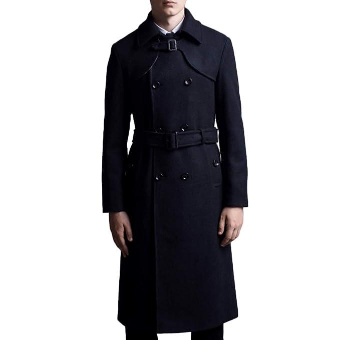 QQWE Cappotto Giacca Trench Uomini Cappotto di Lana del Vestito Collare  Lungo Tratto Uomo Doppiopetto con Cintura f4669f8083c