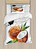 Ambesonne Tropical Twin Size Duvet Cover Set, Hand Drawn Aquarelle Coconut with Brush Marks Fruit of Hawaii Leaves, Decorative 2 Piece Bedding Set with 1 Pillow Sham, Fern Green Brown Black