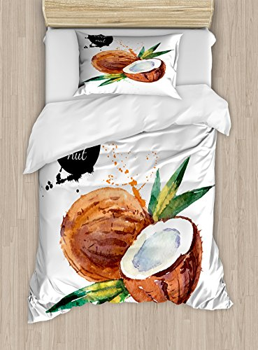 Ambesonne Tropical Twin Size Duvet Cover Set, Hand Drawn Aquarelle Coconut with Brush Marks Fruit of Hawaii Leaves, Decorative 2 Piece Bedding Set with 1 Pillow Sham, Fern Green Brown Black by Ambesonne
