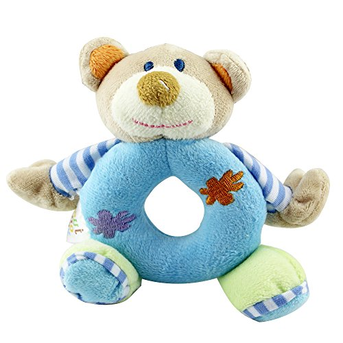 Baby's First Wrist Rattle Learning Stuffed Animal Hand Bell Plush Doll Toys for Kids Xmas Gift (Blue bear)