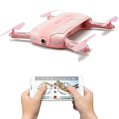 TOYEN GordVE GV002 Foldable RC Drone FPV Wifi RC Quadcopter Altitude Hold Remote Control Drone with 0.3MP HD 720P Camera RC Helicopter-Pink