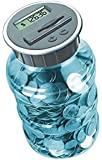 Digital Coin Bank Savings Jar - Automatic Coin Counter Totals all U.S. Coins including Dollars and Half Dollars - Transparent Blue