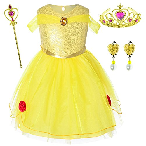 Princess Belle Costume Birthday Party Dress For Toddler Girls 4-5 Years (4T 5T) -