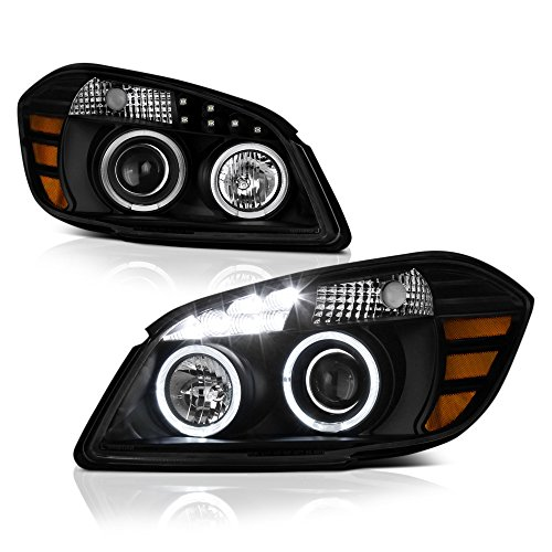 VIPMOTOZ LED Halo Ring Projector Headlight Assembly For 2005-2010 Chevy Cobalt - Matte Black Housing, Driver and Passenger Side