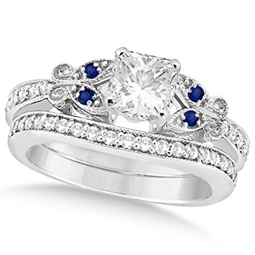 Butterfly Princess Shaped Diamond and Blue Sapphire Engagement Ring and Band Bridal Set 14k Gold 1.71ct