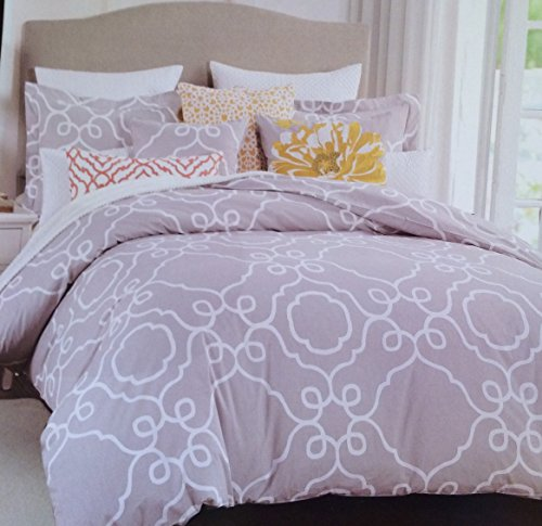 Max Studio Gray and White Queen Duvet Cover Set