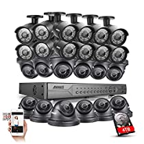 Annke 24-Channel 720P Security Camera System with 4TB Hard Drive Included and (24) 1280TVL/1.0MP Outdoor Fixed Weatherproof Cameras with Metal Housing Body