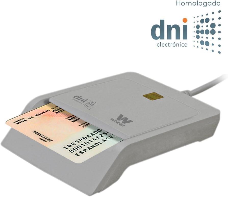 Woxter Lector DNI Electrónico Blanco - Lector de DNI Electrónico Inteligente, DNI 3.0, Plug & Play, Compatible con PC y Mac