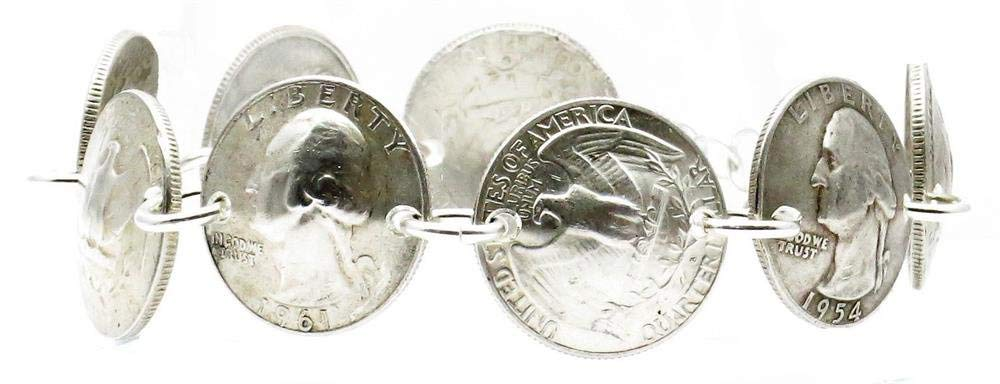 Maria Lucia Pre-1965 90% Silver Quarters/Sterling Silver Bracelet Handmade Size 7.5 Inches by Maria Lucia